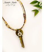 Charmed Key Necklace, antique gold, vintage mother-of-pearl button, gold... - $15.00