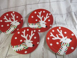 """4 Red Plates Crate/Barrel White Reindeer Colorful Scarf Snow dots 7"""" - $39.59"""