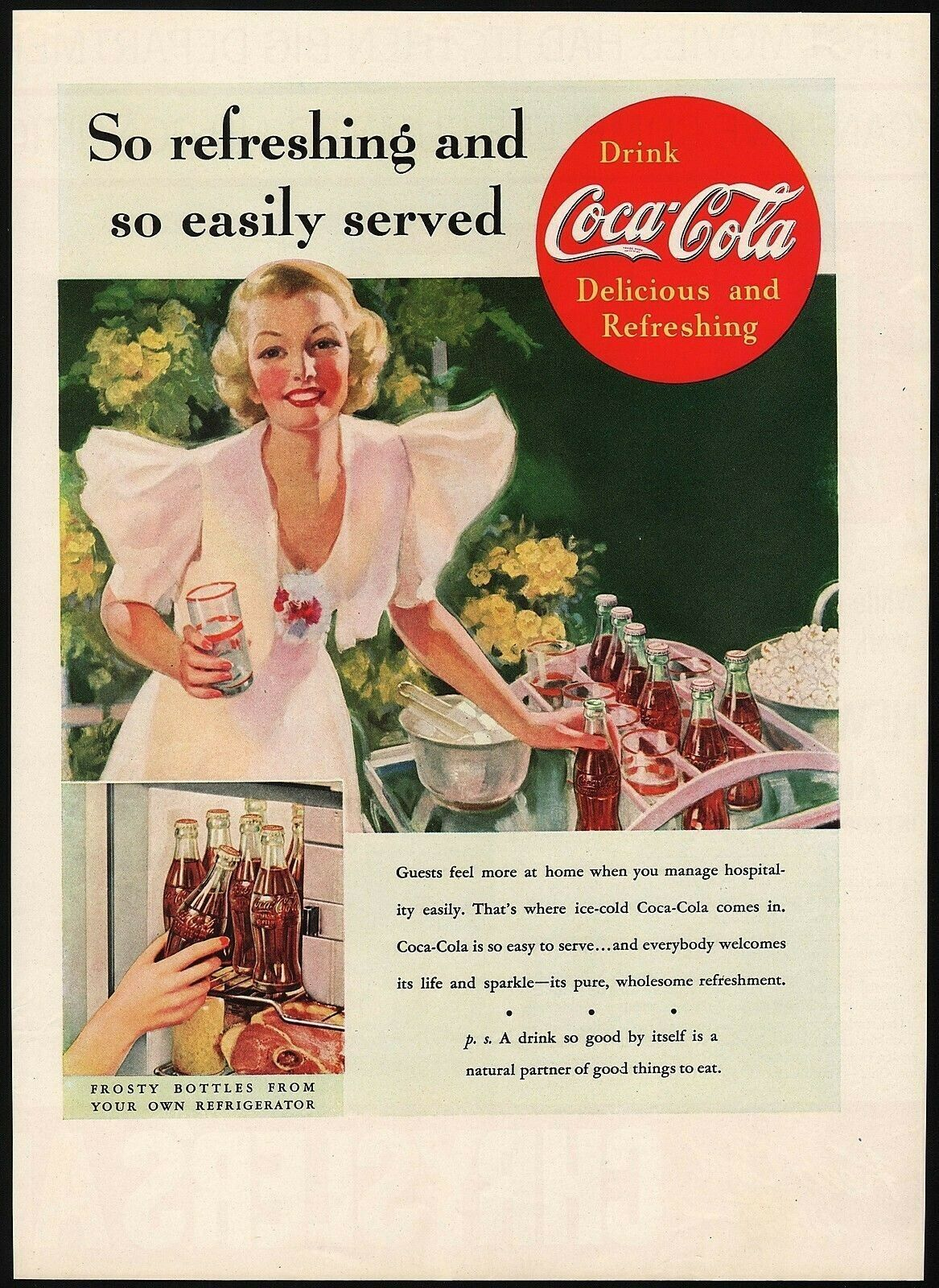 Primary image for Vintage magazine ad COCA COLA 1937 So Refreshing and so Easily Served woman pic