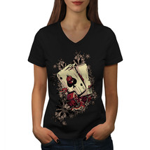Casino Poker Player Shirt Ace Gamble Women V-Neck T-shirt - $12.99+
