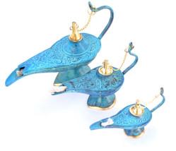 Set 3 Pc Aladin Alladin Genie Oil Brass Ornate Lamps Ornament Lightin-tu... - $37.86