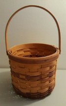 Longaberger 1996 Tall Round Basket With Swing Handle Some Two Tone Weave - $9.99