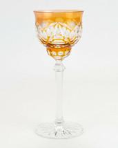 "Val St. Lambert Orange Cut to Clear Wine Hock, Vintage Glass, Wafer Stem 6oz 8"" - $122.50"