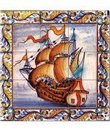 Dollhouse Ship Picture Mosaic Tile Sheet 34891 World Model Miniatures - $2.35