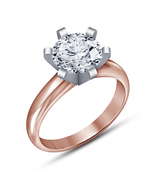 Rose Gold Fn 925 Silver Beautiful White Round Solitaire Engagement Ring ... - $67.99