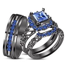 Princess Cut Blue Sapphire Mens Womens Wedding Trio Ring Set 925 Sterling Silver - $168.99