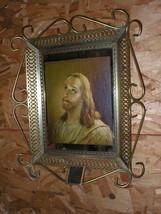 """Vintage Goldtone Metal Frame Jesus Picture 15"""" x 17 1/2"""" Ten Commandments - $33.19"""