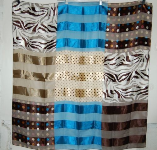 BVT Scarf 100 percent Polyester Multi Colored Brown Turquoise White
