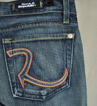 Rock & Republic Roth Addict Wash Rainbow Blue Jeans 27 USA 6511 Womens - $34.55