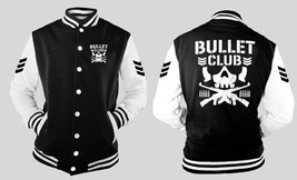 Bullet Club Wrestling Sleeve Detail Varsity Baseball BLACK/WHITE Fleece Jacket - $41.57