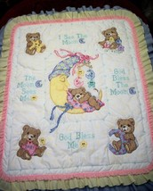 "Hand Quilted &  XStitched ""MR MOON & ME"" Baby Quilt Crib Cover Blanket - $159.99"