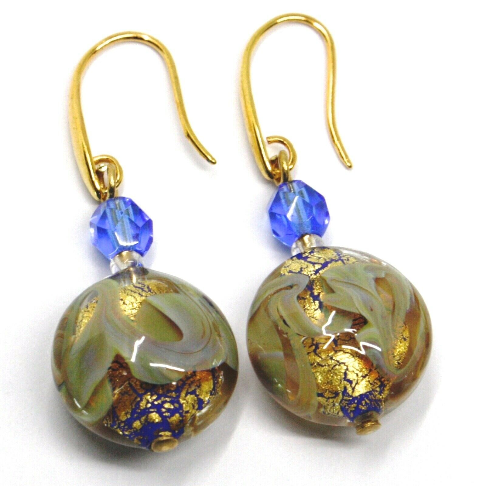 PENDANT HOOK EARRINGS BLUE YELLOW DISC MURANO GLASS GOLD LEAF MADE IN ITALY