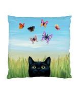 Pillow case Throw Pillow Cushion black Cat 606 butterfly blue green art ... - $23.99+