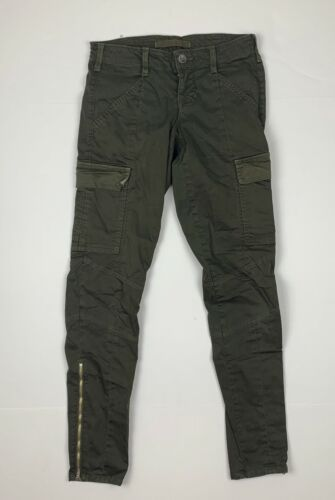 J Brand Cargo Jeans West Point Olive Green USA Women Sz 24 Ankle