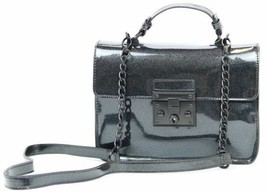 Steve Madden NWT Black Matte Lincoln Push Lock Car Paint Crossbody Hand Bag - $41.96