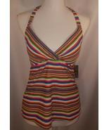 Mossimo SWIMWEAR Rainbow Stripe PADDED HALTER TANKINI SWIM TOP Sz Medium... - $11.74