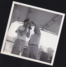 Antique Photograph Man Helping Another Man Take Picture With Vintage Camera - $5.94