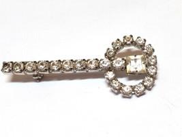 Vintage Prong Set Rhinestone Key Like Pin - $12.29