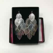 "Avon Textured Fashion Silvertone Wire Pierced Leaf Dangle Earrings 3"" NIB - $9.49"