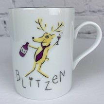 Pottery Barn Christmas Mug Reindeer Ceramic Coffee Cup Blitzen Excellent - $16.82