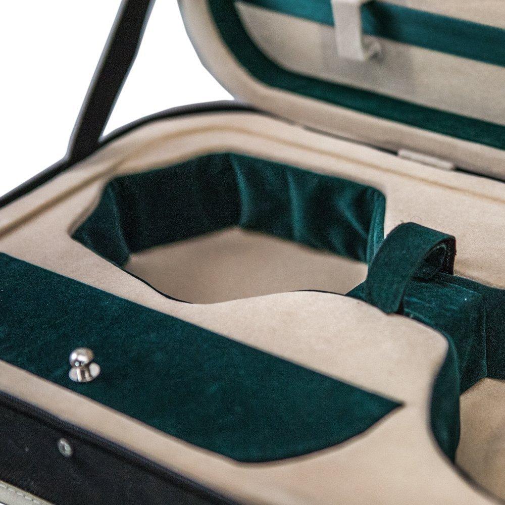 SKY 4/4 Full Size Violin Oblong Lightweight Case with Hygrometer Black/White Spo