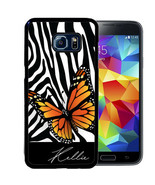 PERSONALIZED CASE FOR SAMSUNG S9 S8 S7 S7 S6 PLUS RUBBER MONARCH BUTTERF... - $13.98