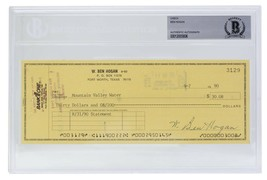 Ben Hogan Signed Personal Check #3129 9/7/1990 Slabbed BAS - $277.19