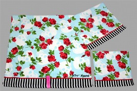 3 Betsey Johnson SKULL GARDEN Roses Stripes Velour Bath Hand Towel Washcloth NWT - $39.99