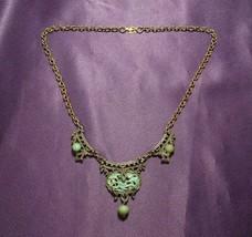 Antique Elegant Brass Necklace W/ Filigree Jade Colored Floral Detail - $64.35