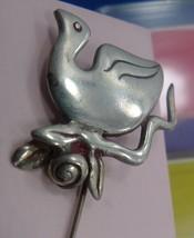 vintage Sterling Stick Pin w/ Clutch BIRD, DUCK or SWAN Hat Dress Sweate... - €38,08 EUR
