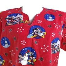 Disney Snow Globes Mickey Minnie Mouse Snowflakes Large Scrub Top No Siz... - $19.79