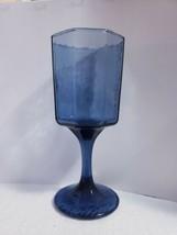 """Vintage Libbey Dusky Cobalt Blue FACETS 6 1/4"""" Wine Glasses 6 Oz - Set Of 7 - $32.66"""