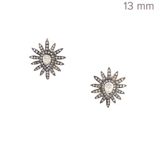 Primary image for 14k Yellow Gold Rose Cut Diamond Pave Starburst Design Stud Earrings 925 Silver