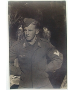 WW2 German original photo Luftwaffe Obergefreiter with 2 birds of prey o... - $9.25