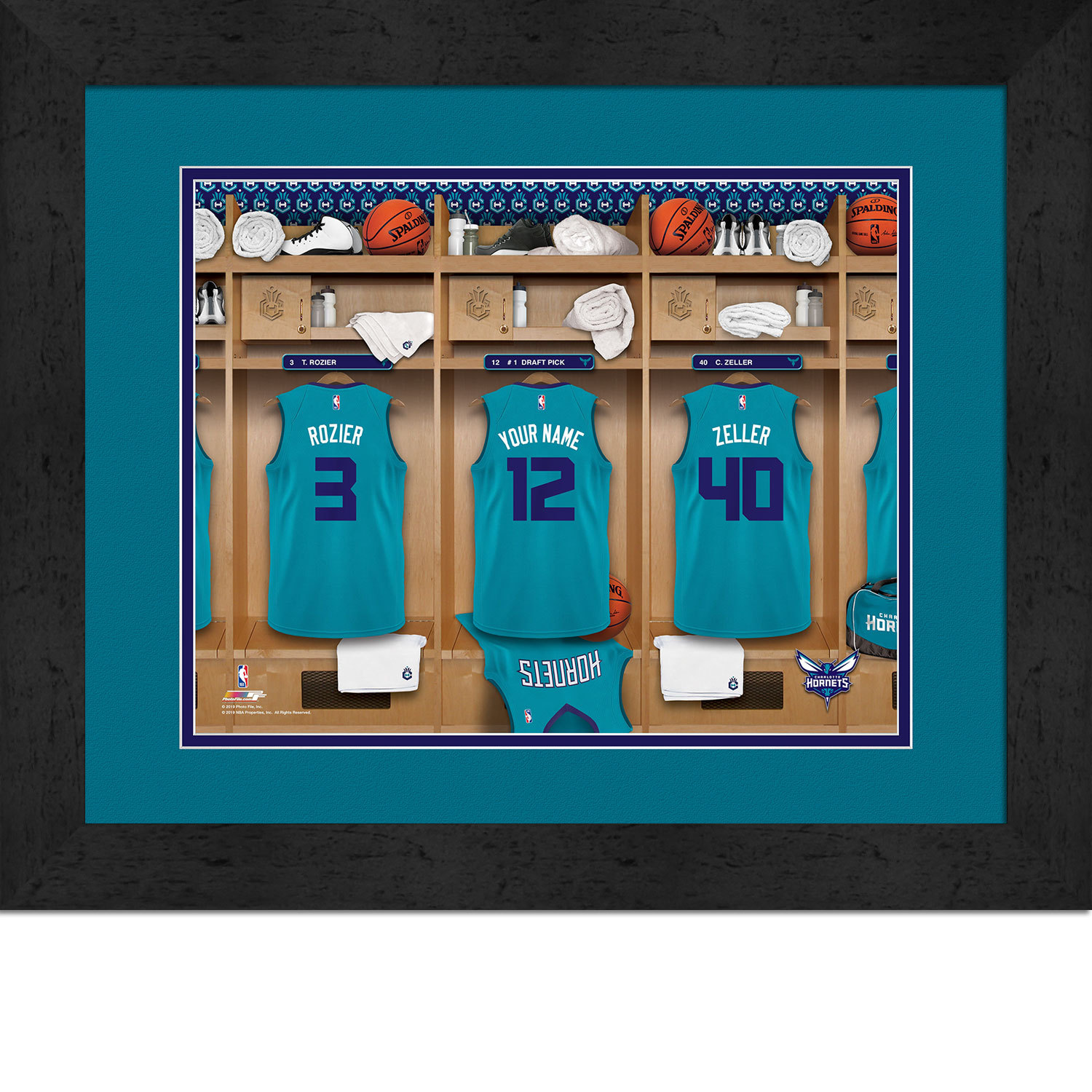 Primary image for Personalized Charlotte Hornets 12 x 16 Locker Room Framed Print