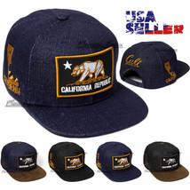 Baseball Cap California Cali Bear Snapback Hat Adjustable Denim Men Soli... - $12.95