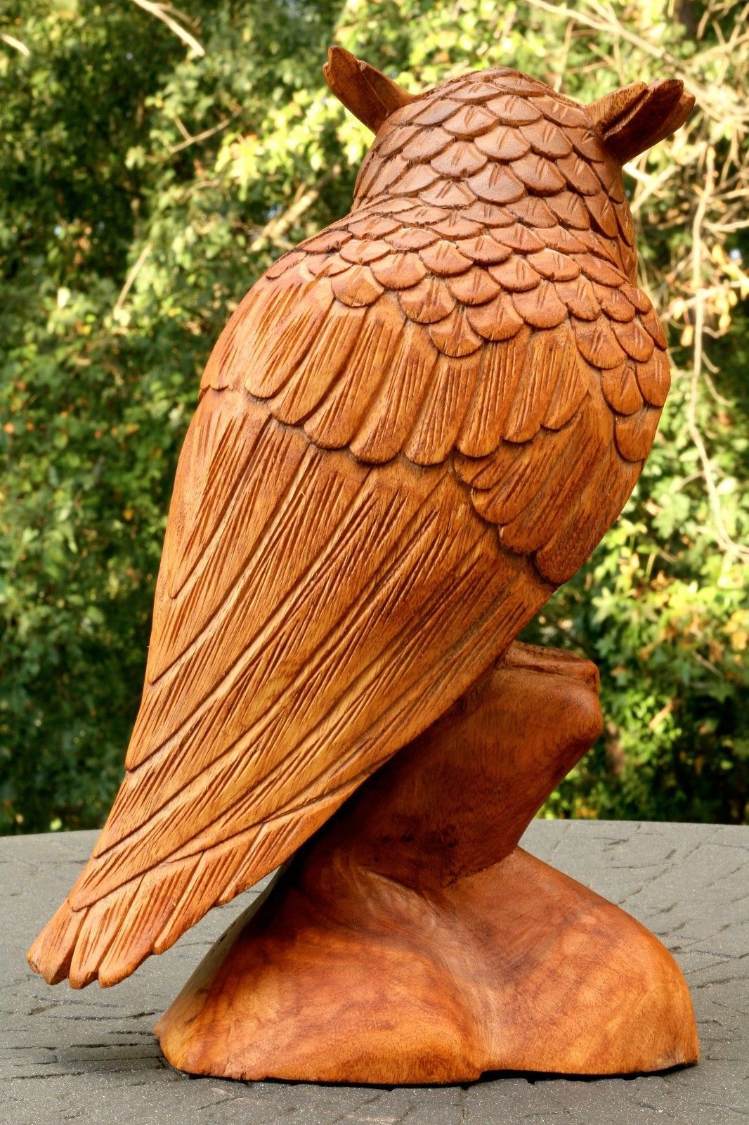 """12"""" Large Wooden Owl Statue Hand Carved Sculpture Figurine Art Home Decor Gift image 4"""