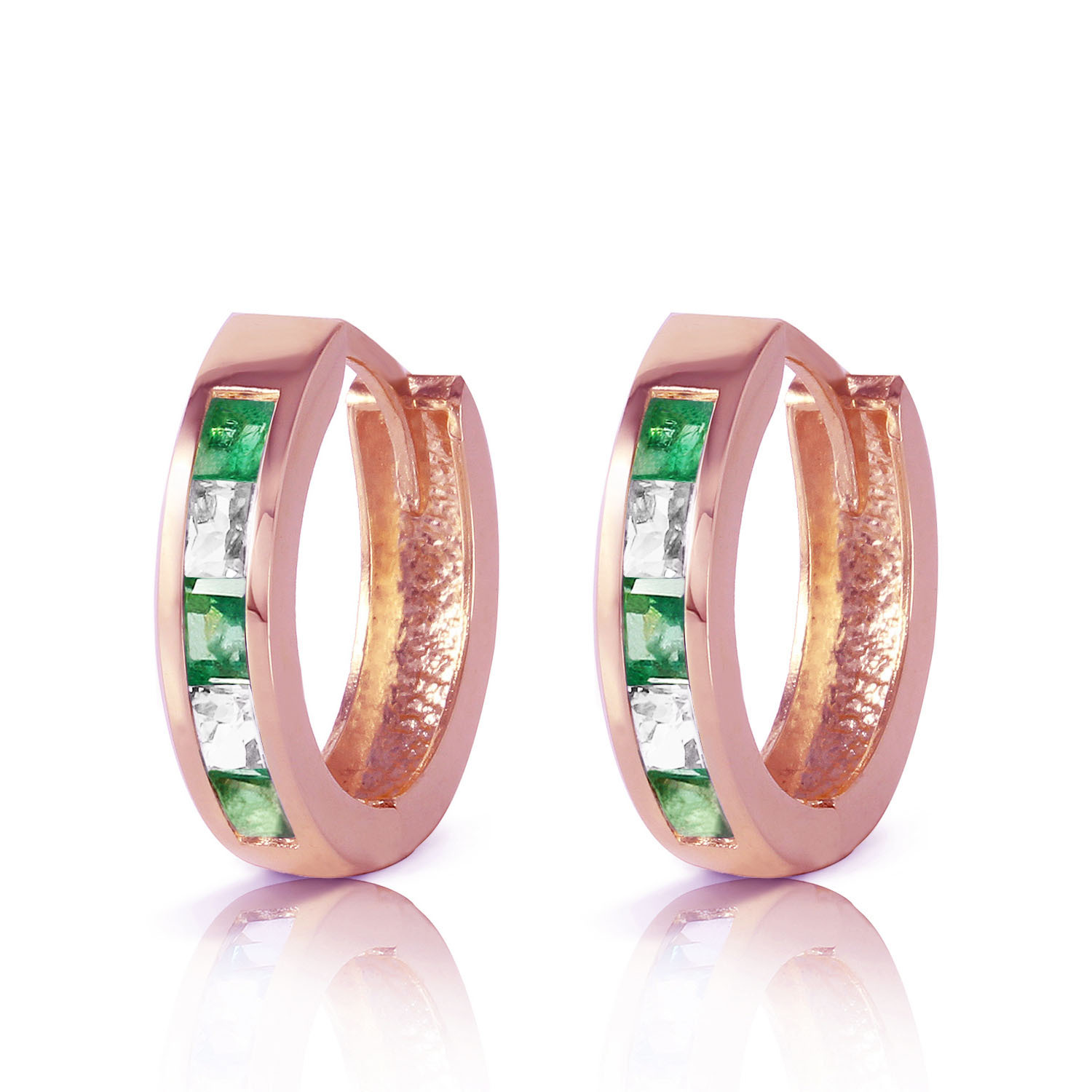 Primary image for 1.26 Carat 14K Solid Rose Gold Hoop Earrings Natural Emerald Rose Topaz