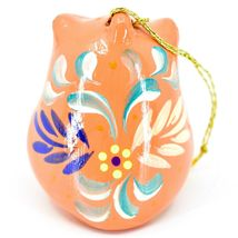 Handcrafted Painted Ceramic Peach Pink Owl Confetti Ornament Made in Peru image 3