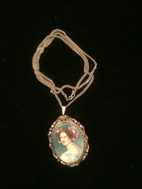 """Vintage 40s Painted Portrait """"cameo-style"""" necklace/pin image 2"""