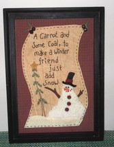 Framed Wall Picture Rustic Snowman Winter Stitched, Fabric & Felt - $12.50