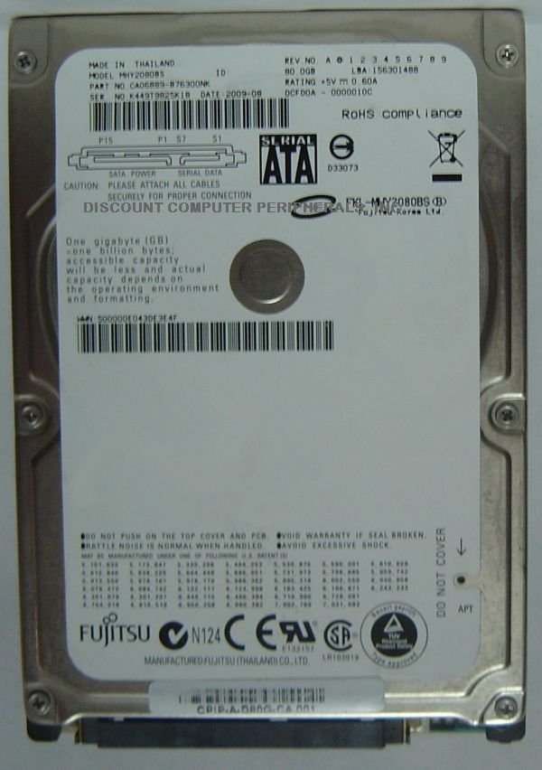 "Rare Fujitsu MHY2080BS 80GB SATA 2.5"" Drive Tested Free USA Ship Our Drives Work"