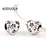 Charms 10 Pcs a Lot Heart With Flower Big Hole Silver Fits Pandora Brace... - $18.99