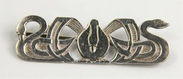 ESTATE STERLING SILVER THREE NORNES BROOCH PAST PRESENT FUTURE NORSE MYT... - $125.00