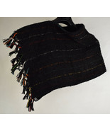 Poncho Womens Wool Handmade Sweaters Chile Black Red One Size - $49.50