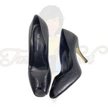 AK Anne Klein Women's Black Open Toe Black Slip-On Embossed Heels Sz 8M - $24.88