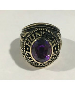 10k Yellow Gold Hunter College 1972 School Ring With Purple Stone - $970.75
