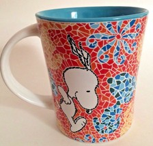 Peanuts Snoopy Mug Mosaic Tile Cup By Gibson Teal Blue 15 oz - $22.76