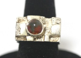 Handmade Sterling Silver Heavy Natural Red Garnet Gem Ring Size 6 Unisex... - $138.59