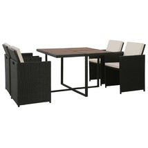 vidaXL 5 Piece Outdoor Dining Set Cushions Poly Rattan Black Brown Chair... - $354.99
